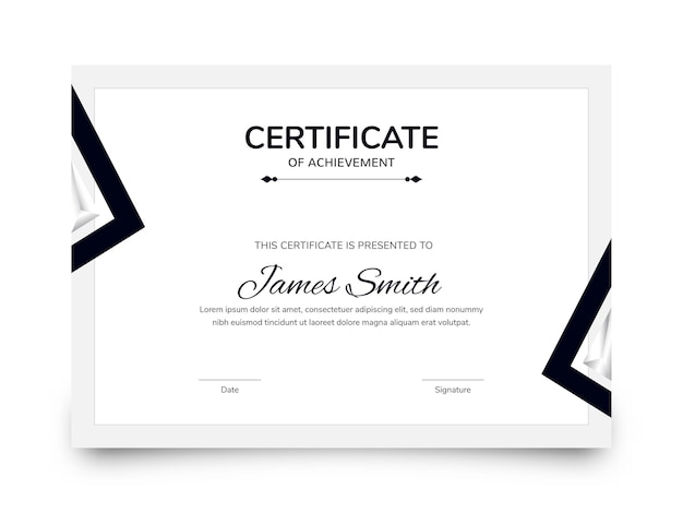Best award certificate of achievement template layout in white color.
