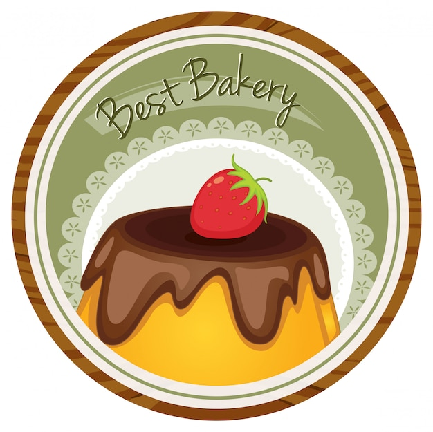A best bakery label with a cake and a strawberry