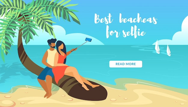 Best beaches for selfie horizontal banner with loving couple sitting on palm tree making photo selfie