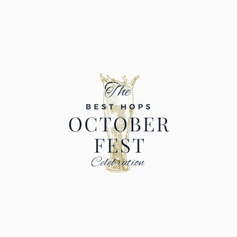Лучшее пиво октоберфест празднование абстрактный знак, символ или шаблон логотипа.
