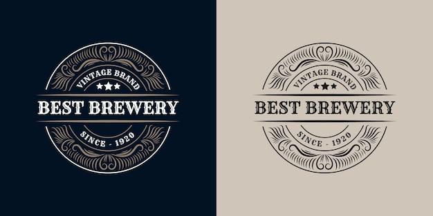 Best brewery. antique retro luxury victorian calligraphic  logo set