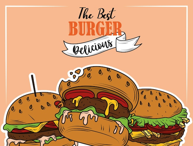 The best burger delicious fast food menu restaurant flyer design