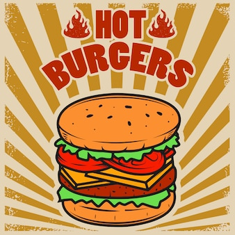Best burgers. hamburger illustration on grunge background.  element for poster, restaurant menu.  illustration