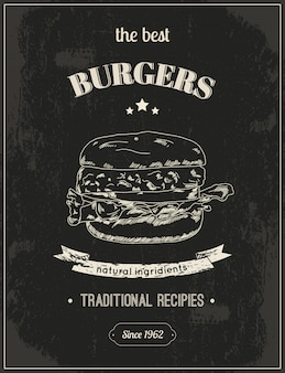 The best burgers, hamburger poster ready to print