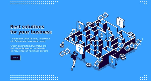 Best business solutions isometric landing page, businessman looking for way to reach goal through maze, employee try to pass labyrinth, challenge overcoming aim achieving 3d line art web banner