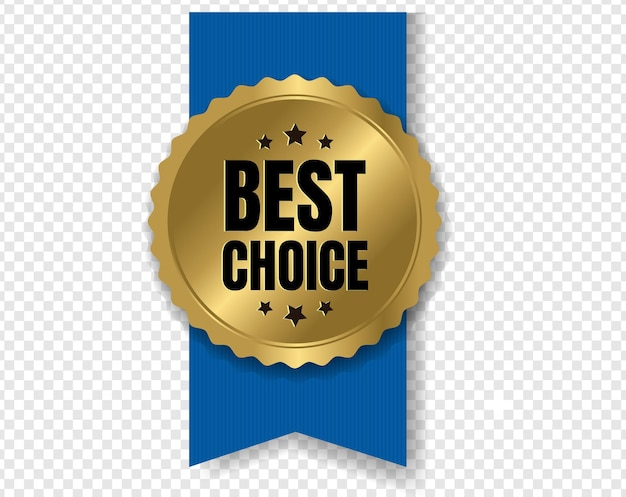 Best choice badge with ribbon and transparent background with gradient mesh,