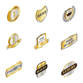 Best choice banner icons set, isometric 3d style