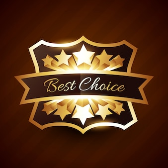 Best choice label  with golden stars and ribbon