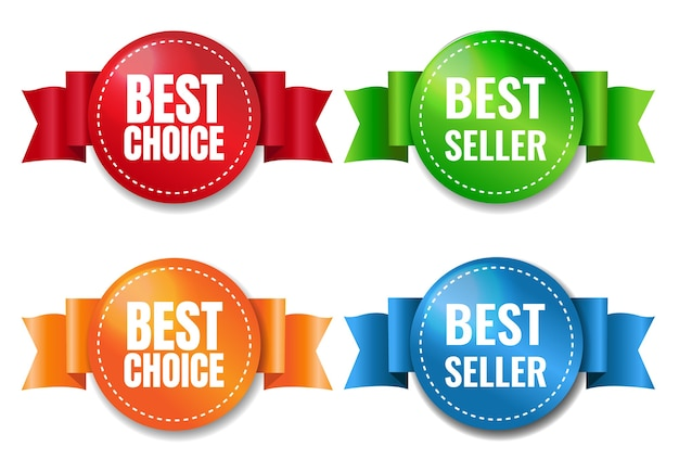 Best choice labels set white background with gradient mesh, illustration