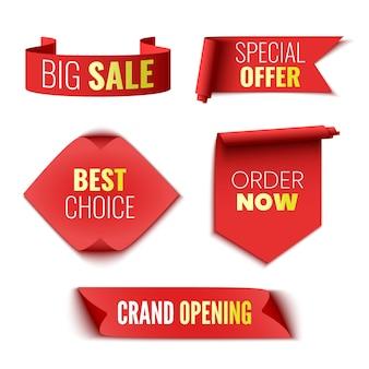 Лучший выбор заказать сейчас специальное предложение торжественное открытие и большие распродажи баннеры теги с красными лентами и sti