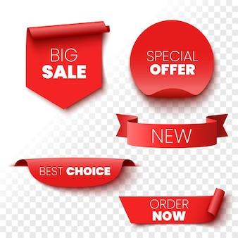 Лучший выбор заказать сейчас специальное предложение новые и большие распродажи баннеры теги и наклейки с красными лентами векторные иллюстрации