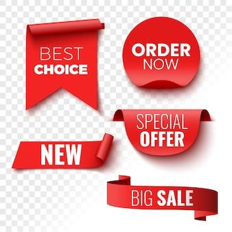 最良の選択、今すぐ注文、特別オファー、新規および大規模なセールバナー。赤いリボン、タグ、ステッカー。