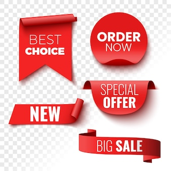 Best choice, order now, special offer, new and big sale banners. red ribbons, tags and stickers.