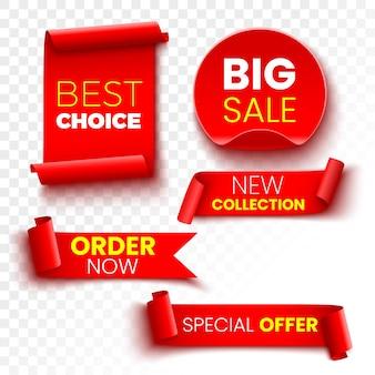 最良の選択、今すぐ注文、特別オファー、新しいコレクション、大セールのバナー。赤いリボン、タグ、ステッカー。