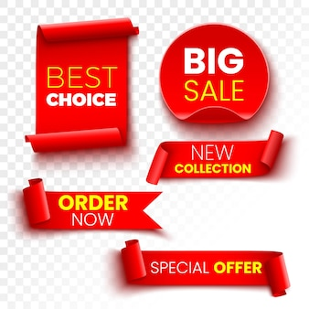 Best choice, order now, special offer, new collection and big sale banners. red ribbons, tags and stickers.