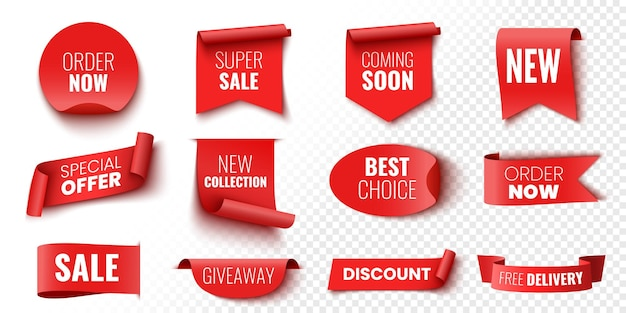 Best choice order now special offer new collection free delivery sale banners red ribbons tags and stickers vector illustration