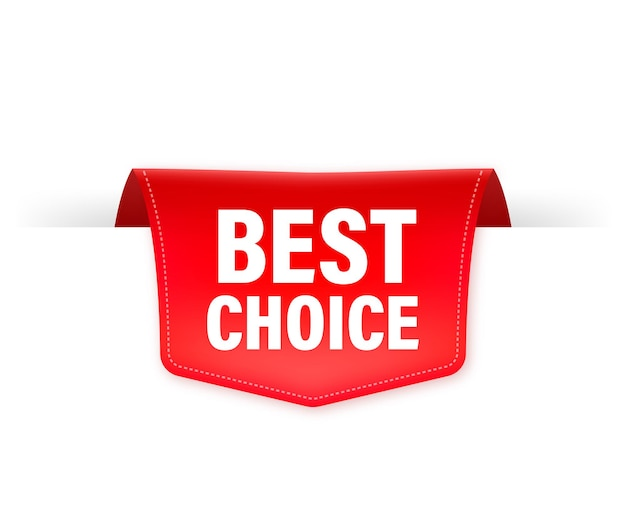 Best choice red ribbon isolated    illustration.
