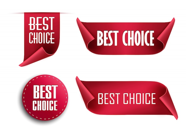 Теги лучший выбор, красные метки, изолированные на белом