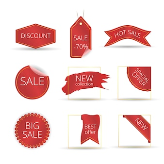 Best choice tags,  red labels isolated on white background. new tag ribbon and banner .