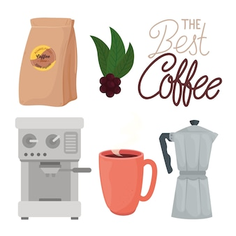 The best coffee with set icons illustration design