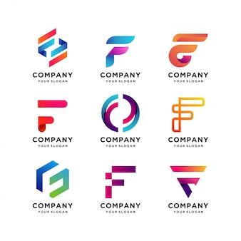 편지 f 로고 템플릿의 최고의 컬렉션