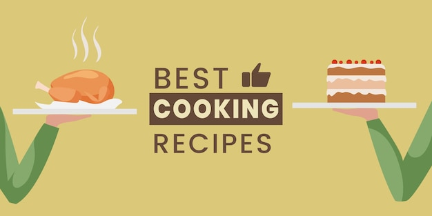 最高の料理レシピフラットバナーデザインテンプレート