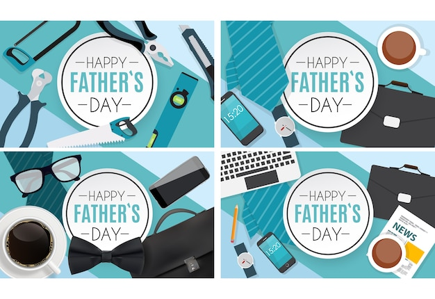 Best dad concept template collection set