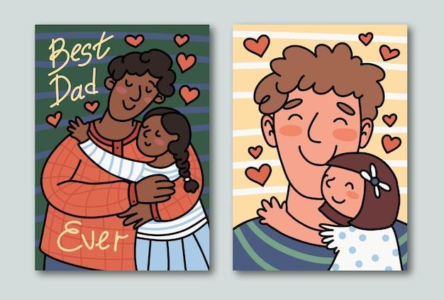 최고의 아빠! 손으로 쓴 문구가 있는 낙서 스타일의 귀여운 축제 카드. 행복한 소녀는 웃는 아버지를 안아줍니다.