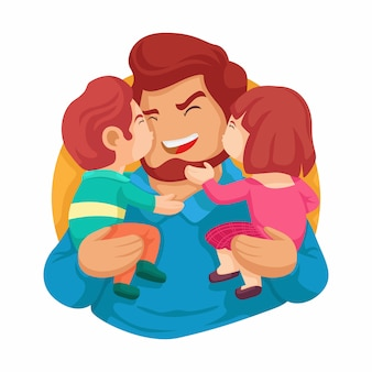 Best dad ever. happy fathers day. son and daughter kissing her daddy vector illustration