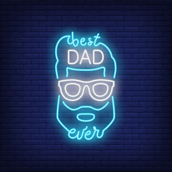 Best dad ever neon style icon. male face and lettering on brick background.