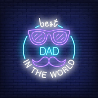 Best dad in the world neon style icon on brick background.
