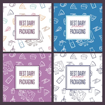 Best dairy product seamless patterns set