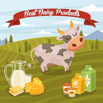 Best dairy products illustration with rural landscape