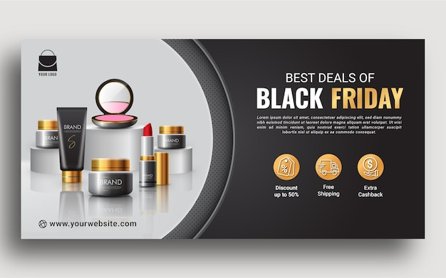 Best deals of black friday promotion web banner template