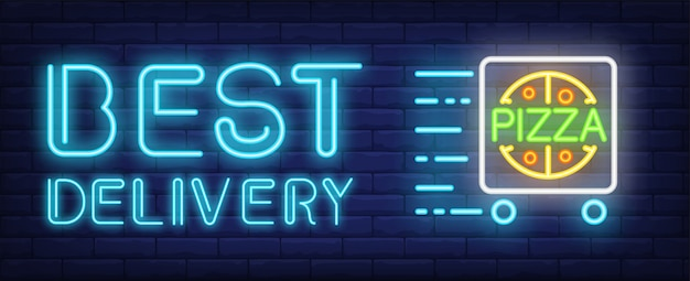 Best delivery pizza neon sign