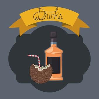 코코넛 프레임 최고의 음료 병