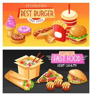 Best fast food dishes and drinks horizontal illustration