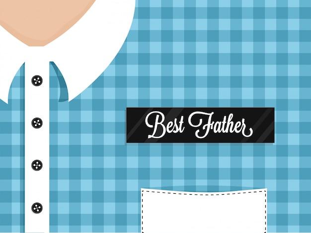 남자에 최고의 아버지 라벨, 타탄 무늬 셔츠. 해피 아버지의 날 축하 개념