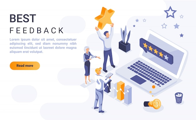 Best feedback landing page banner  with isometric illustration