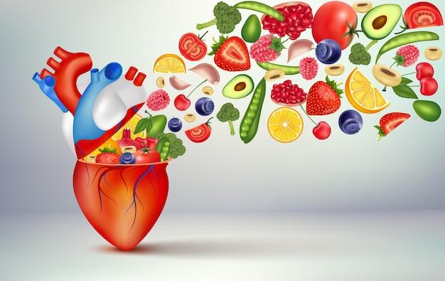 건강한 심장을 위한 최고의 음식 심장 건강을 위한 필수 영양소 메인 인간 강한 심장 캐릭터 프리미엄 벡터