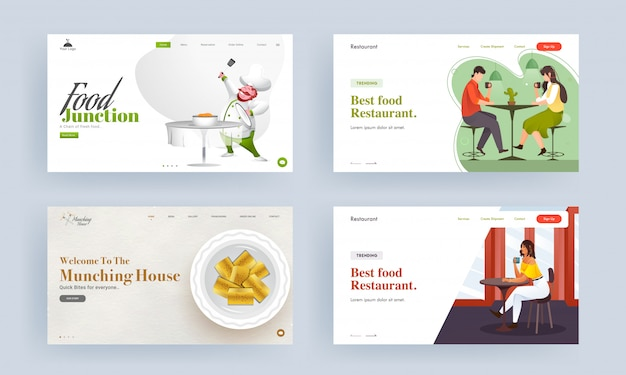 Адаптивный веб-шаблон или целевая страница ресторана best food, munching house и food junction.