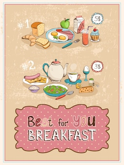Best for you breakfast 두 가지 요리 메뉴를 보여주는 빈티지 포스터 디자인.