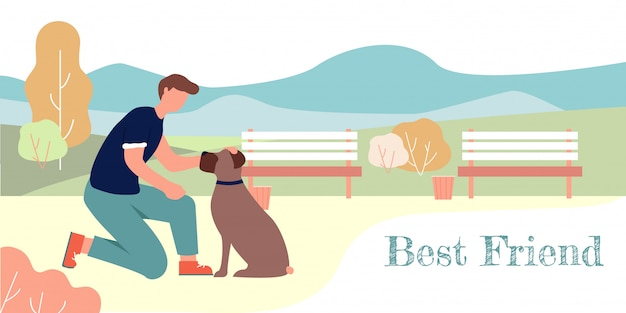 Best friend banner cartoon man pet sitting boxer