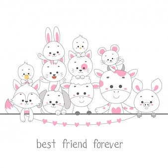 Best friend forever. cute animal line art vector illustration