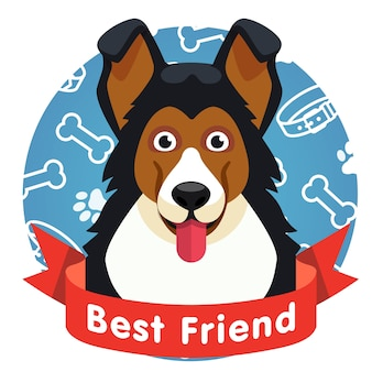 Best friend symbol. dog pet face with red ribbon