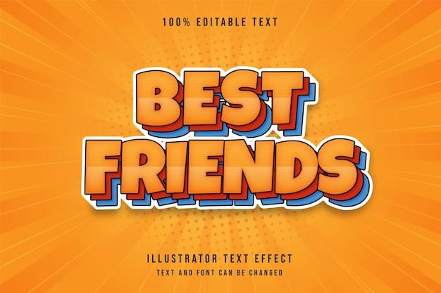 Лучшие друзья, 3d редактируемый текстовый эффект, желтая градация, красная синяя тень, стиль текста комиксов