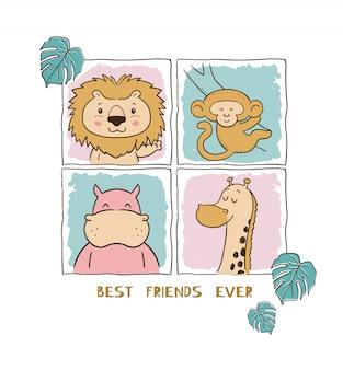 Best friends animal pattern