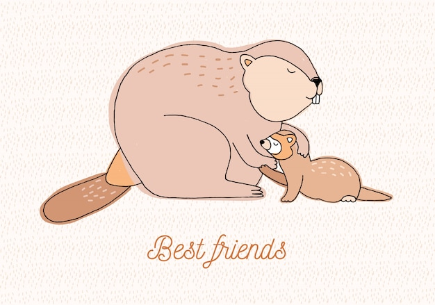 Best friends card. colorful hand drawn illustration with beaver and weasel.
