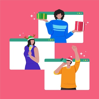 I migliori amici festeggiano il natale online grazie alla quarantena illustrata Vettore gratuito