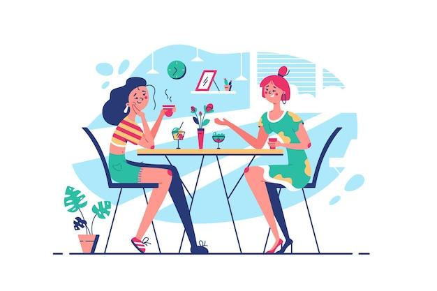 Лучшие друзья общаются, пьют кофе